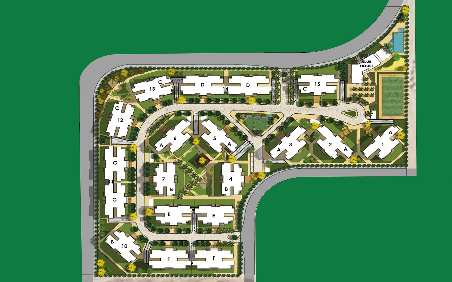 Green 6 Compound 6 October New Project by Mabany Edris Apartments For Sale - 8 Gates Real Estate Egypt (6)